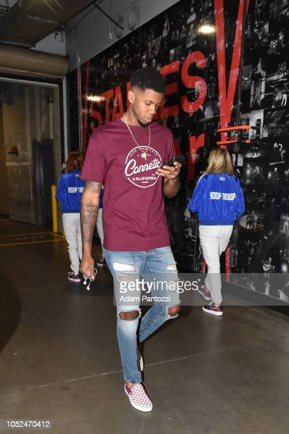 Tyrone Wallace of the LA Clippers arrives to the arena before a game against the Denver Nuggets on October 17 2018 at Staples Center in Los Angeles...