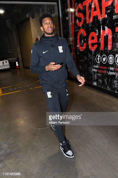 Tyrone Wallace of the LA Clippers arrives to the game against the Chicago Bulls on March 15 2019 at STAPLES Center in Los Angeles California NOTE TO...