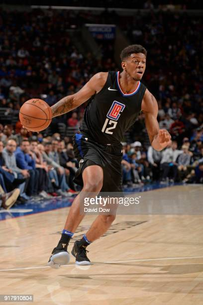 Tyrone Wallace of the LA Clippers drives to the basket against the Philadelphia 76ers at Wells Fargo Center on February 10 2018 in Philadelphia...