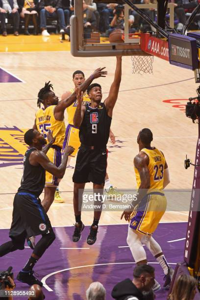 6b7806821 Tyrone Wallace of the LA Clippers shoots the ball against the Los Angeles  Lakers on March