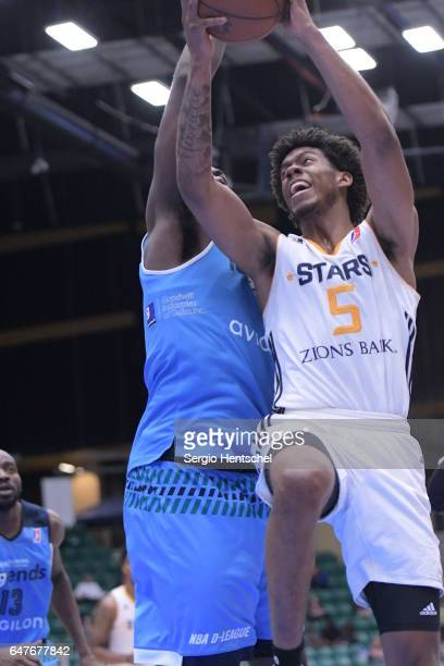 Tyrone Wallace of the Salt Lake City Stars in action during game against the Texas Legends at The Dr Pepper Arena on March 3 2017 in Frisco Texas...