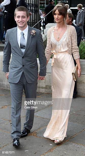 Tyrone Wood and Rosie HuntingtonWhiteley arrives at Southwark Cathedral to attend Leah Wood's wedding to Jack MacDonald on June 21 2008 in London...