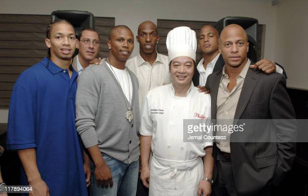 Tyronn Lu Andy Miller Sebastian Telfair Chauncey Billups Chef Philippe Chow Keith Lyle and Chris Brantley