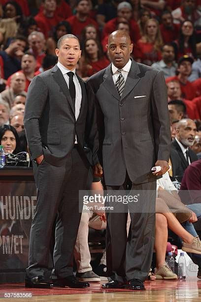 Tyronn Lue and Larry Drew of the Cleveland Cavaliers coach during Game Six of the NBA Eastern Conference Finals against the Toronto Raptors at Air...