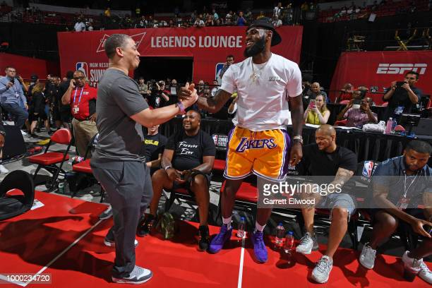 Tyronn Lue of the Cleveland Cavaliers and LeBron James of the Los Angeles Lakers greet each other during the 2018 Las Vegas Summer League on July 15...