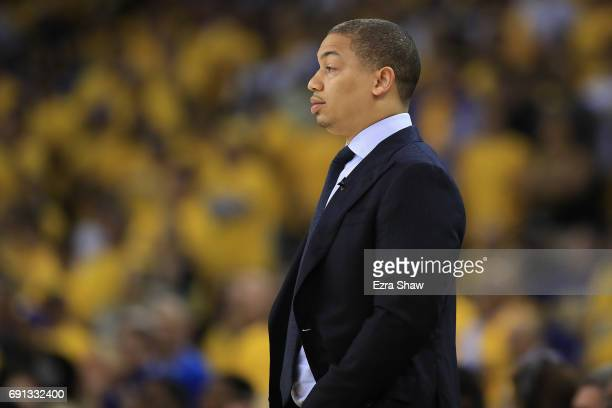 Tyronn Lue of the Cleveland Cavaliers looks on against the Golden State Warriors during the first half of Game 1 of the 2017 NBA Finals at ORACLE...