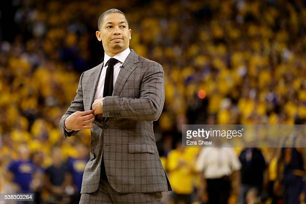 Tyronn Lue of the Cleveland Cavaliers reacts during the second quarter of Game 2 of the 2016 NBA Finals against the Golden State Warriors at ORACLE...