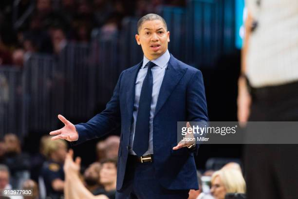 Tyronn Lue of the Cleveland Cavaliers reacts to a foul call during the first half against the Houston Rockets at Quicken Loans Arena on February 3...