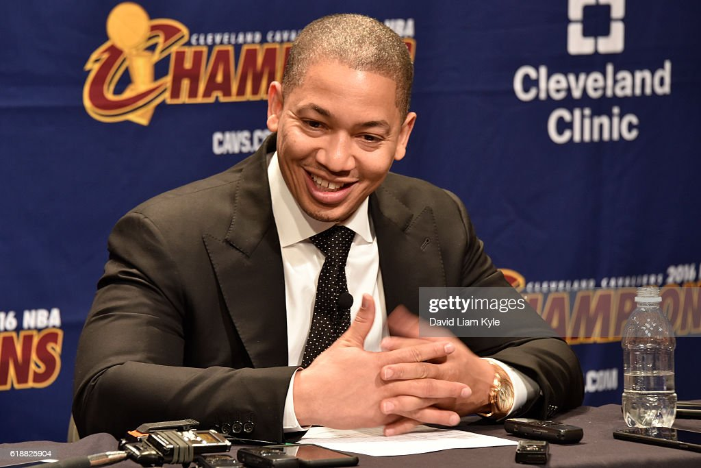 Tyronn Lue of the Cleveland Cavaliers talks to the media during a press conference after the game against the New York Knicks on October 25, 2016 at Quicken Loans Arena in Cleveland, Ohio.