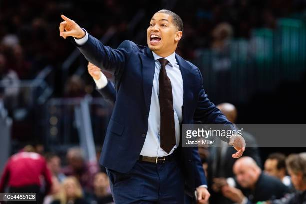 Tyronn Lue # of the Cleveland Cavaliers yells to his players during the first half against the Indiana Pacers at Quicken Loans Arena on October 27...