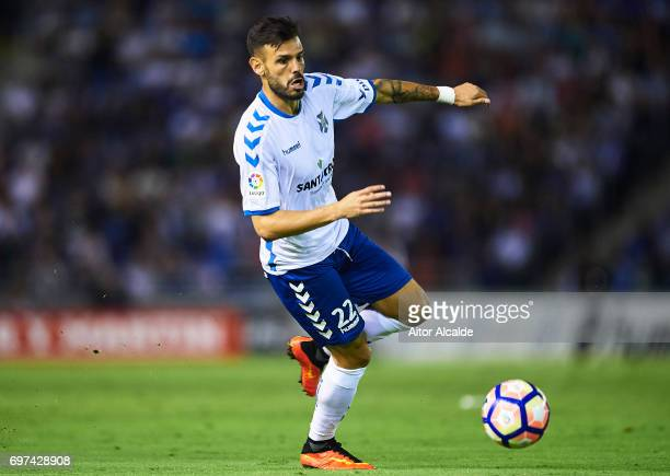Tyronne del Pino of CD Tenerife in action during La Liga 2 play off round between CD Tenerife and at Heliodoro Rodriguez Lopez Stadium on June 18...