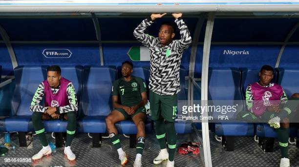 Tyronne Ebuehi Ahmed Musa Joel Obi and Elderson Echiejile are dejected following the 2018 FIFA World Cup Russia group D match between Nigeria and...