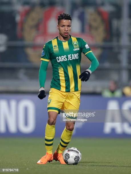 Tyronne Ebuehi of ADO Den Haag during the Dutch Eredivisie match between ADO Den Haag v Willem II at the Cars Jeans Stadium on February 17 2018 in...