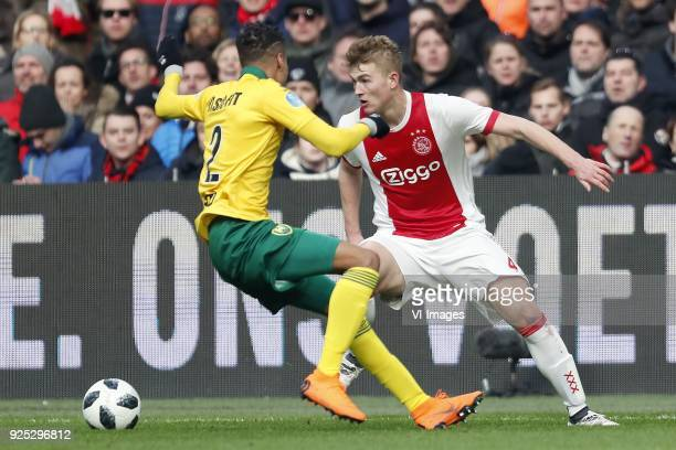 Tyronne Ebuehi of ADO Den Haag Matthijs de Ligt of Ajax during the Dutch Eredivisie match between Ajax Amsterdam and ADO Den Haag at the Amsterdam...