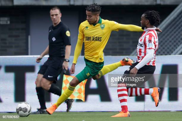 Tyronne Ebuehi of ADO Den Haag Miquel Nelom of Sparta Rotterdam during the Dutch Eredivisie match between Sparta v ADO Den Haag at the Sparta Stadium...
