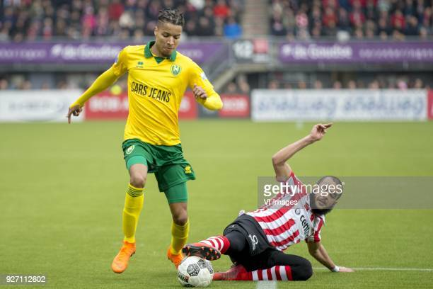 Tyronne Ebuehi of ADO Den Haag Soufyan Ahannach of Sparta Rotterdam during the Dutch Eredivisie match between Sparta Rotterdam and ADO Den Haag at...