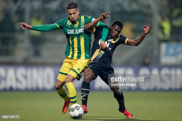 Tyronne Ebuehi of ADO Den Haag Thomas Agyepong of NAC Breda during the Dutch Eredivisie match between ADO Den Haag v NAC Breda at the Cars Jeans...