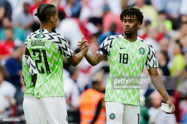 Tyronne Ebuehi of Nigeria Alex Iwobi of Nigeria during the International Friendly match between England v Nigeria at the Wembley Stadium on June 2...
