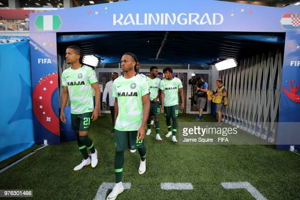Tyronne Ebuehi of Nigeria and Joel Obi of Nigeria walk out for the warm up prior to the 2018 FIFA World Cup Russia group D match between Croatia and...