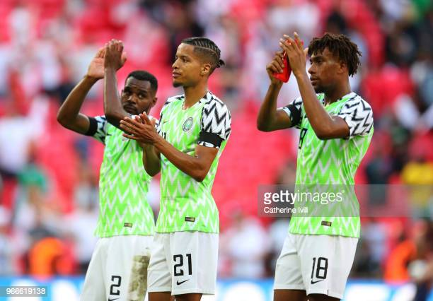 Tyronne Ebuehi of Nigeria applauds after the International Friendly match between England and Nigeria at Wembley Stadium on June 2 2018 in London...