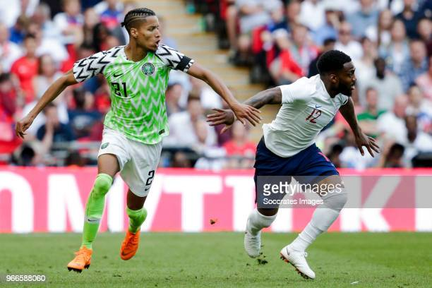 Tyronne Ebuehi of Nigeria Danny Rose of England during the International Friendly match between England v Nigeria at the Wembley Stadium on June 2...