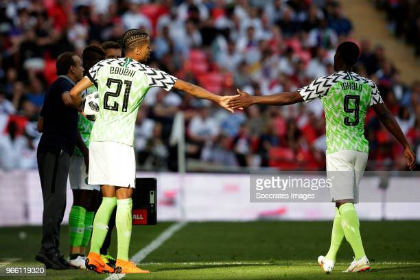 Tyronne Ebuehi of Nigeria Odion Ighalo of Nigeria during the International Friendly match between England v Nigeria at the Wembley Stadium on June 2...