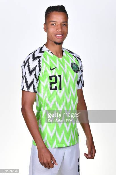 Tyronne Ebuehi of Nigeria poses for a portrait during the official FIFA World Cup 2018 portrait session on June 12 2018 in Yessentuki Russia