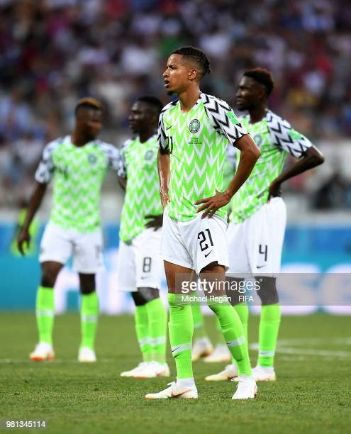 Tyronne Ebuehi of Nigeria waits the decision following the VAR review that will end in an Iceland penalty during the 2018 FIFA World Cup Russia group...