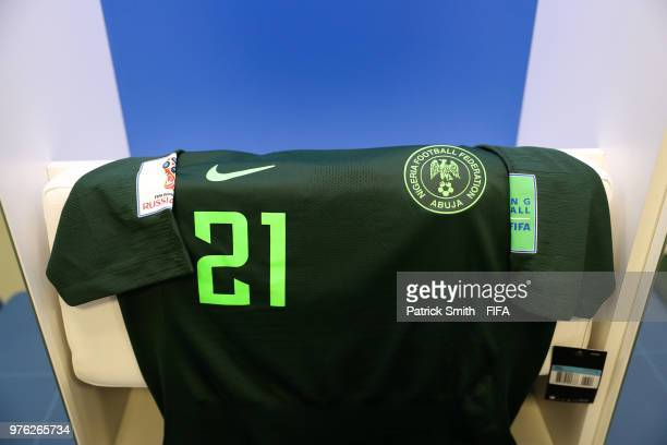 Tyronne Ebuehi of Nigeria's shirt is seen inside the Nigeria dressing room prior to the 2018 FIFA World Cup Russia group D match between Croatia and...