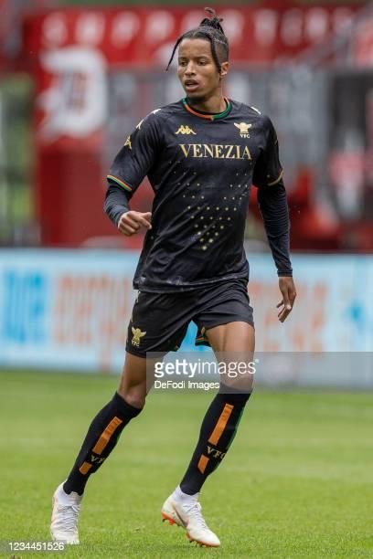Tyronne Ebuehi of Rangers FC looks on during the Pre-Season Friendly Match between FC Twente and Venezia at De Grolsch Veste on August 4, 2021 in...
