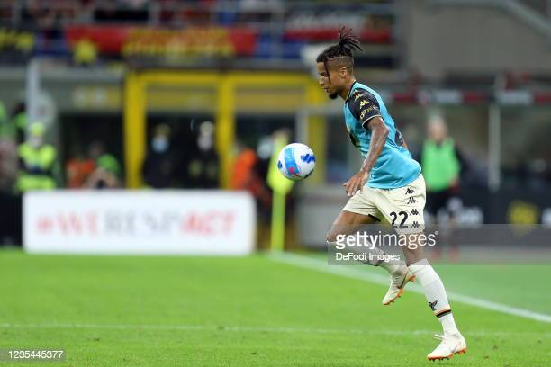 Tyronne Ebuehi of Venezia FC controls the ball during the Serie A match between AC Milan and Venezia FC at Stadio Giuseppe Meazza on September 22,...
