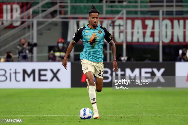 Tyronne Ebuehi of Venezia FC in action during the Serie A match between AC Milan and Venezia FC at Stadio Giuseppe Meazza on September 22, 2021 in...