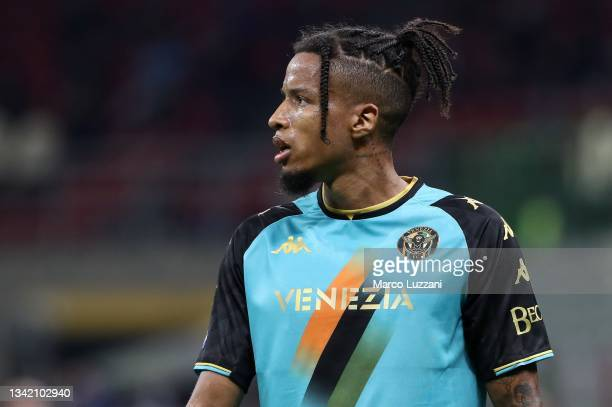 Tyronne Ebuehi of Venezia FC looks on during the Serie A match between AC Milan and Venezia FC at Stadio Giuseppe Meazza on September 22, 2021 in...