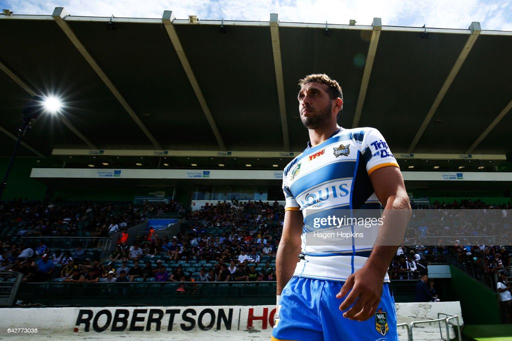 Tyronne Roberts-Davis of the Titans takes the field to warm up during the NRL Trial match between the Warriors and the Gold Coast Titans at Central Energy Trust Arena on February 19, 2017 in Palmerston North, New Zealand.