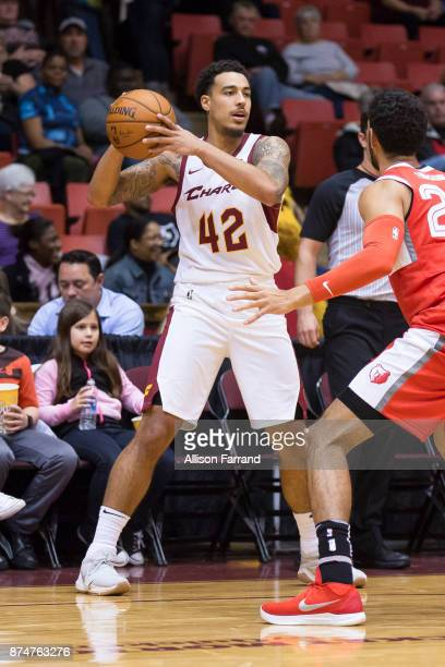 Tyrrel Tate of the Canton Charge handles the ball against the Memphis Hustle on November 15 2017 at the Canton Memorial Civic Center in Canton Ohio...
