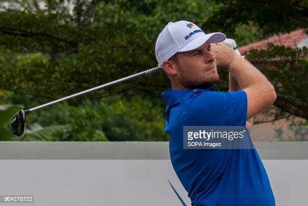 Tyrrell Hatton is seen taking a shot on fourball matches at the Eurasia Cup EurAsia Cup is a biennial men professional team golf tournament between...