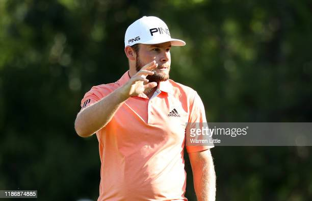 Tyrrell Hatton of England acknowledges the crowd on the 14th green during the final round of the Turkish Airlines Open at The Montgomerie Maxx Royal...
