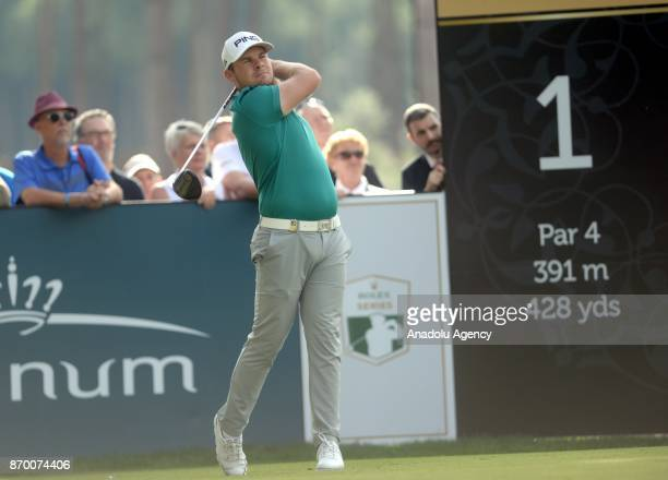 Tyrell Hatton of England competes during the Turkish Airlines Open 2017 Golf Tournament in Antalya Turkey on November 04 2017