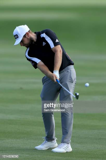 Tyrrell Hatton of England hits a shot during a practice round prior to The PLAYERS Championship at the TPC Stadium course on March 11 2020 in Ponte...