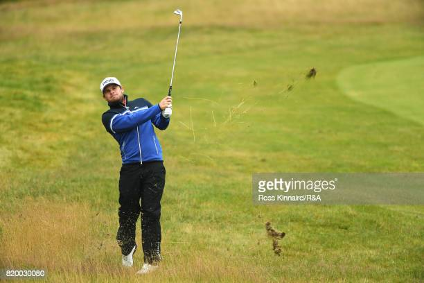 Tyrrell Hatton of England hits his second shot on the 1st hole during the second round of the 146th Open Championship at Royal Birkdale on July 21...