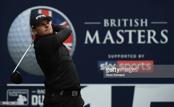 Tyrell Hatton of England hits his tee shot on the 15th hole during day two of the British Masters at Close House Golf Club on September 29 2017 in...