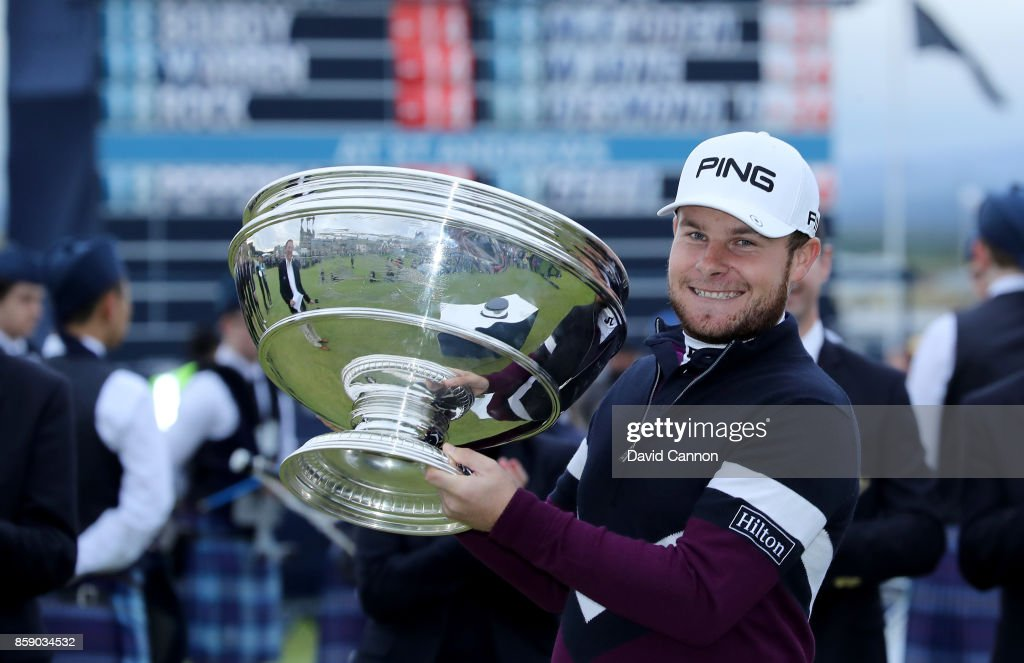 Tyrrell Hatton of England holds the trophy after his victory the final round of the 2017 Alfred Dunhill Links Championship on the Old Course at St Andrews on October 8, 2017 in Kingsbarns, Scotland.