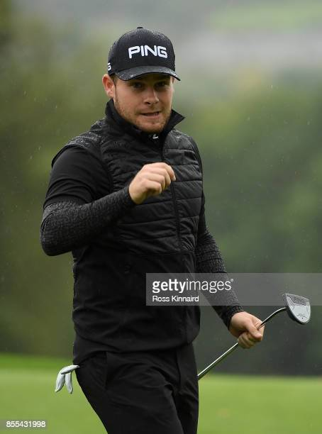 Tyrell Hatton of England looks on on the 16th green during day two of the British Masters at Close House Golf Club on September 29 2017 in Newcastle...