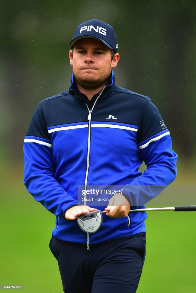 Tyrrell Hatton of England on the 1st during Day Three of the 2017 Omega Masters at Crans-sur-Sierre Golf Club on September 9, 2017 in Crans-Montana, Switzerland.