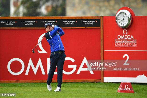 Tyrell Hatton of England on the 2nd during Day Three of the 2017 Omega Masters at CranssurSierre Golf Club on September 9 2017 in CransMontana...