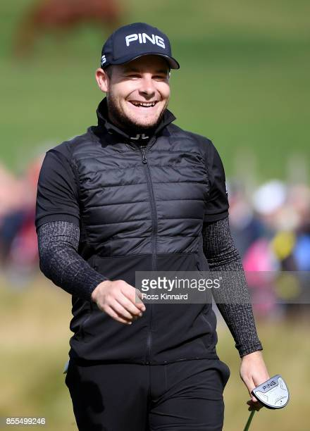 Tyrell Hatton of England on the 9th hole during day two of the British Masters at Close House Golf Club on September 29 2017 in Newcastle upon Tyne...