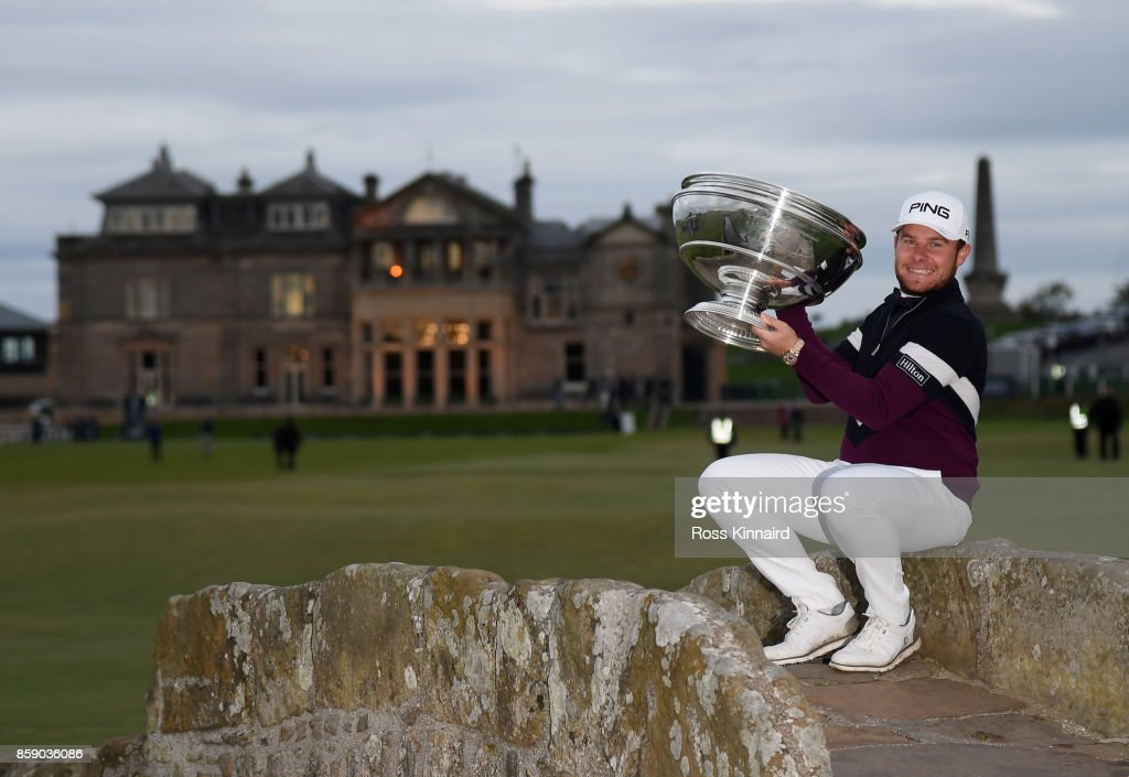 Tyrrell Hatton of England pictured with the winners trophy after the final round of the Alfred Dunhill Links Championship at The Old Course on October 8, 2017 in St Andrews, Scotland.