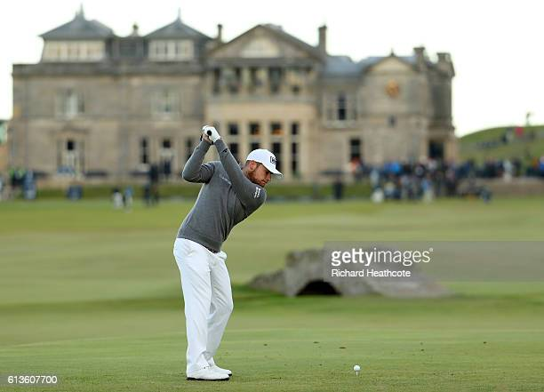 Tyrrell Hatton of England plays a driver off the 18th tee during the final round of the Alfred Dunhill Links Championship at The Old Course on...
