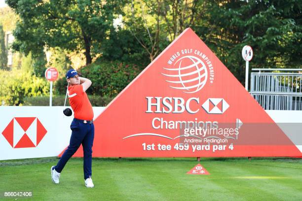 Tyrell Hatton of England plays a shot during the proam prior to the WGC HSBC Champions at Sheshan International Golf Club on October 25 2017 in...