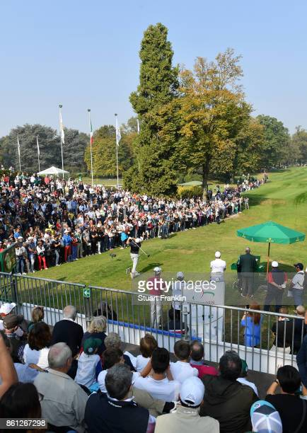 Tyrrell Hatton of England plays a shot during the third round of the Italian Open at Golf Club Milano Parco Reale di Monza on October 14 2017 in...